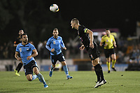 1st November 2019; Leichhardt Oval, Sydney, New South Wales, Australia; A League Football, Sydney Football Club versus Newcastle Jets; Nigel Boogaard of Newcastle Jets heads the ball clear from danger - Editorial Use