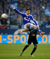 FUSSBALL   1. BUNDESLIGA   SAISON 2012/2013    27. SPIELTAG FC Schalke 04 - TSG 1899 Hoffenheim                       30.03.2013 Daniel Williams (TSG 1899 Hoffenheim) schultert Ciprian Marica (FC Schalke 04)