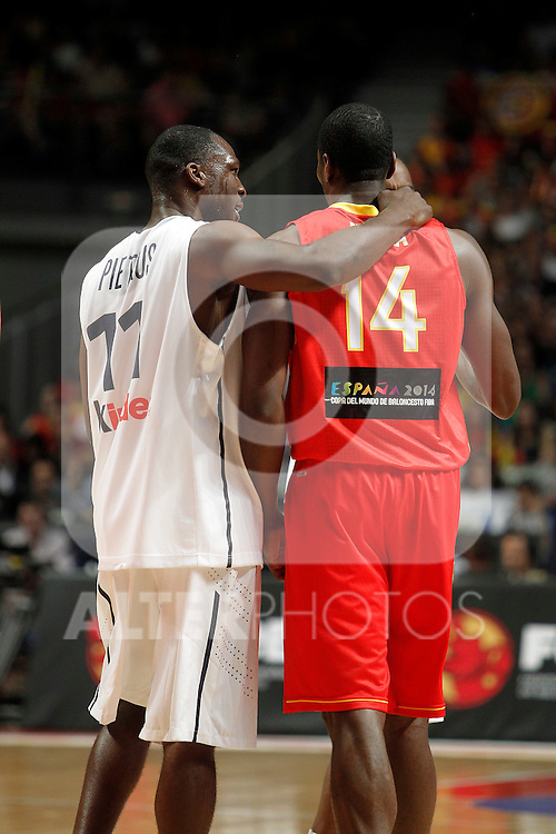 Spain´s Ibaka and France´s Pietrus during friendly match Spain vs France.July 10,2012.(ALTERPHOTOS/ARNEDO)