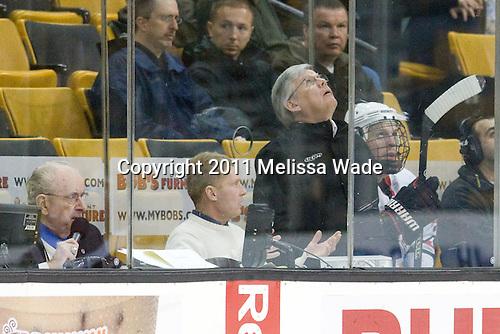 Jim Prior, Mike Hogan, Tyler McNeely (Northeastern - 94) - The Northeastern University Huskies defeated the Harvard University Crimson 4-0 in their Beanpot opener on Monday, February 7, 2011, at TD Garden in Boston, Massachusetts.