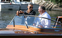 George Clooney and driver Sandro depart by boat during the 74th Venice Film Festival at Hotel Excelsior in Venice, Italy, on 01 September 2017. - NO WIRE SERVICE - Photo: Hubert Boesl /DPA/MediaPunch ***FOR USA ONLY***