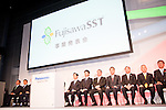October 1, 2012, Tokyo, Japan - Presidents of Japanese big companies appear during a press conference at Panasonic's head office in Tokyo, Japan. They announced Panasonic's unique, safe and secure energy solutions and innovative ways of energy use to be employed in the town that is anticipated toserve as an advanced model of new lifestyles.(Photo by Yumeto Yamazaki/AFLO)