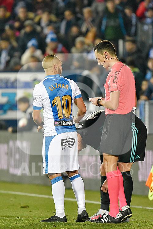 Leganes Nabil El Zhar yellow card vs Real Madrid during Copa del Rey  match. A quarter of final go. 20180118.