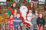 BREAKFAST WITH SANTA: Enjoying breakfast with Santa and his elves at Ballyseedy Garden Centre on Sunday pictured Carloine and Ciara Fallon, Listowel, Jack and Luke Dillon, Abbeyfeale, Alex and Tally Collins, Abbeyfeale, Ali Cotter, Cork and Santa and elves Emma Peterson and Zoe Newsone-McDonnell.