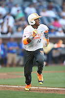 Brandon McIIwain (12) of the East team runs to first base during the 2015 Perfect Game All-American Classic at Petco Park on August 16, 2015 in San Diego, California. The East squad defeated the West, 3-1. (Larry Goren/Four Seam Images)