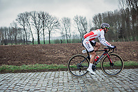 Roy Jans (BEL/Corendon Circus) riding the Haaghoek cobbles in the early break away group. <br />  <br /> 74th Omloop Het Nieuwsblad 2019 (BEL)<br /> Gent – Ninove: 200km<br /> ©kramon