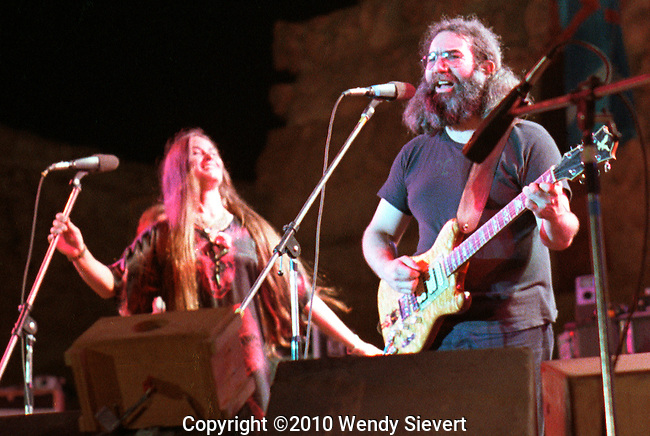 Donna Jean Godchaux, Jerry Garcia, Giza Theater, Cairo, Egypt, Sept. 1978.<br /> These are the only color front-of-stage images of the band playing in Egypt that I've seen. They were taken by Wendy Norman Sievert.