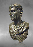 "Roman Bronze sculpture bust known as 'Sylla"" from the tablinium of the Villa of the Papyri in Herculaneum, Museum of Archaeology, Italy, grey art background"