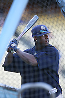 Mike Cameron of the San Diego Padres during batting practice before a game against the Los Angeles Dodgers in a 2007 MLB season game at Dodger Stadium in Los Angeles, California. (Larry Goren/Four Seam Images)