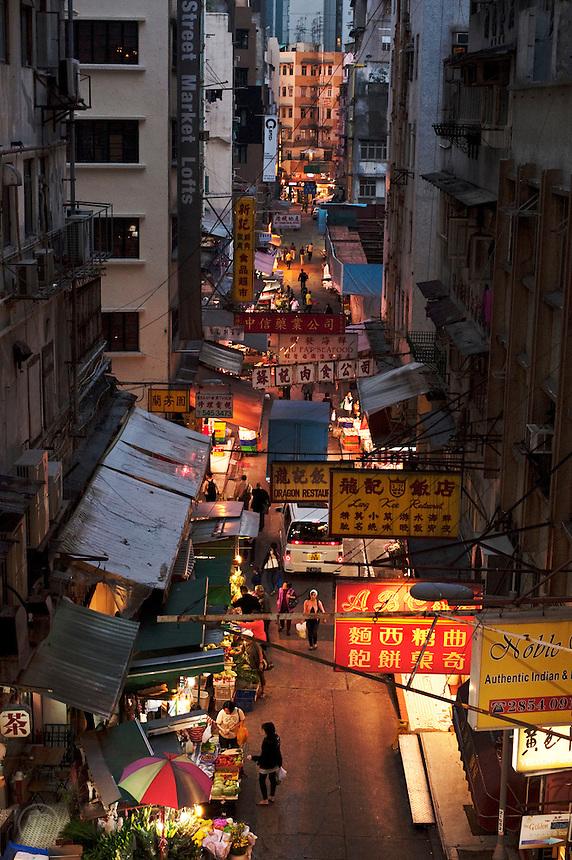 A market street in the evening, seen from above, Hong Kong