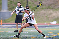 Towson, MD - March 25, 2017: Towson Tigers Emily Gillingham (45) attempts a shot during game between Towson and Oregon at  Minnegan Field at Johnny Unitas Stadium  in Towson, MD. March 25, 2017.  (Photo by Elliott Brown/Media Images International)