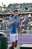 KEY BISCAYNE, FL - MARCH 30: Novak Djokovic of Serbia defeats Steve Darcis of Belgium during day 8 of the Miami Open at Crandon Park Tennis Center on March 30, 2015 in Key Biscayne, Florida.<br /> <br /> <br /> People:  Novak Djokovic<br /> <br /> Transmission Ref:  FLXX<br /> <br /> Must call if interested<br /> Michael Storms<br /> Storms Media Group Inc.<br /> 305-632-3400 - Cell<br /> 305-513-5783 - Fax<br /> MikeStorm@aol.com