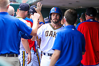 Iowa Cubs second baseman Chesny Young (1) high-fives teammates in the dugout during a Pacific Coast League game against the Colorado Springs Sky Sox on June 23, 2018 at Principal Park in Des Moines, Iowa. Colorado Springs defeated Iowa 4-2. (Brad Krause/Four Seam Images)