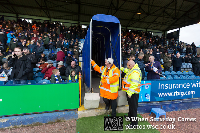 Stewards extending the tunnel for the players to begin the second half. Stockport County v Barnet, 07032020. Edgeley Park, National League. Photo by Paul Thompson.
