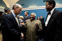 Brian Klein, Desmond Tutu, Ed Foster-Simeon. The 2010 US Soccer Foundation Gala was held at City Center in Washington, DC.