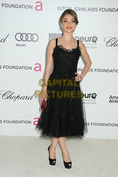 Sarah Hyland.20th Annual Elton John Academy Awards Viewing Party held at West Hollywood Park, West Hollywood, California, USA..February 26th, 2012.oscars full length black dress tulle red clutch bag hand on hip.CAP/ADM/BP.©Byron Purvis/AdMedia/Capital Pictures.