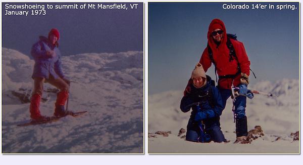 Summits of Mt Mansfield, Vermont and Mt Democrat (14,155 ft), Colorado.