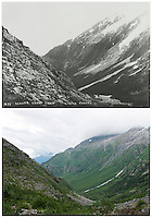 KLGO Photo Station CH-08: Long Hill, View down the valley from Long Hill, Klondike Gold Rush National Historical Park, Alaska, United States. Upper photo taken in 1898 by Anton Vogee (Yukon Archives, Anton Vogee Collection, #311). Lower photo taken August 20, 2013 by Ronald D. Karpilo Jr.