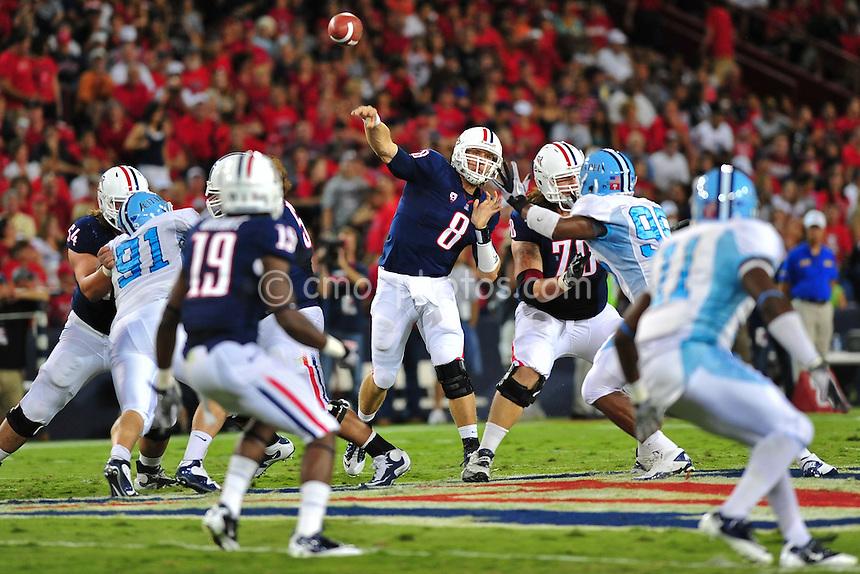 ept 11, 2010; Tucson, AZ, USA; Arizona Wildcats quarterback Nick Foles (8) throws a pass in the 1st quarter of a game against the Citadel Bulldogs at Arizona Stadium.