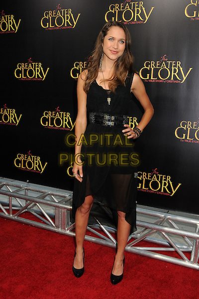"""Maiara Walsh.""""For Greater Glory"""" Los Angeles Premiere held at the AMPAS Samuel Goldwyn Theater, Beverly Hills, California, USA..May 31st, 2012.full length black dress belt hand on hip.CAP/ADM/BP.©Byron Purvis/AdMedia/Capital Pictures."""