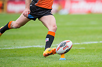 Picture by Allan McKenzie/SWpix.com - 13/05/2017 - Rugby League - Ladbrokes Challenge Cup - Castleford Tigers v St Helens - The Mend A Hose Jungle, Castleford, England - Ladbrokes, ball, kicking, branding.