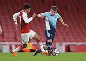16/04/2018 Arsenal v Blackpool FAYC Semi 2L<br /> <br /> Fin Sinclair-Smith with Xavier Amaechi