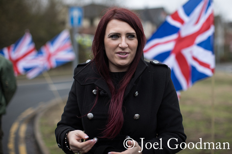 © Joel Goodman - 07973 332324 . 25/02/2017. Telford, UK. Britain First hold a demonstration in Telford , opposed by anti-fascist groups . Britain First say they are highlighting concerns about child sexual exploitation in the town . Photo credit : Joel Goodman