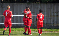 Celebrations after Simeon Weekes of Flackwell Heath scores the first goal during the UHLSport Hellenic Premier League match between Flackwell Heath v Tuffley Rovers at Wilks Park, Flackwell Heath, England on 20 April 2019. Photo by Andy Rowland.