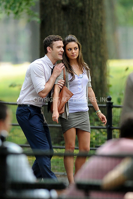 WWW.ACEPIXS.COM . . . . . ....July 21 2010, New York City....Actors Justin Timberlake and Mila Kunis on the Central Park set of the new movie 'Friends with benefits' on July 21 2010 in New York City....Please byline: KRISTIN CALLAHAN - ACEPIXS.COM.. . . . . . ..Ace Pictures, Inc:  ..(212) 243-8787 or (646) 679 0430..e-mail: picturedesk@acepixs.com..web: http://www.acepixs.com