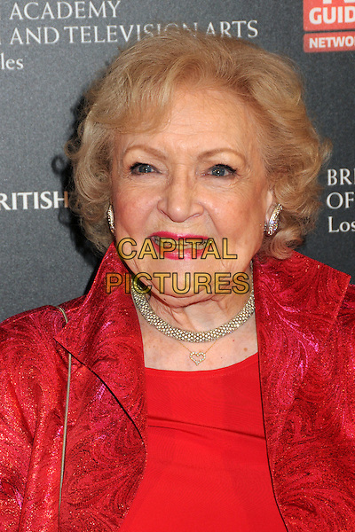 BETTY WHITE .BAFTA Los Angeles 2010 Britannia Awardsz held at The Hyatt Regency Plaza Hotel, Century City, CA, USA, .4th November 2010..portrait headshot red necklace lipstick smiling .CAP/ADM/BP.©Byron Purvis/AdMedia/Capital Pictures.