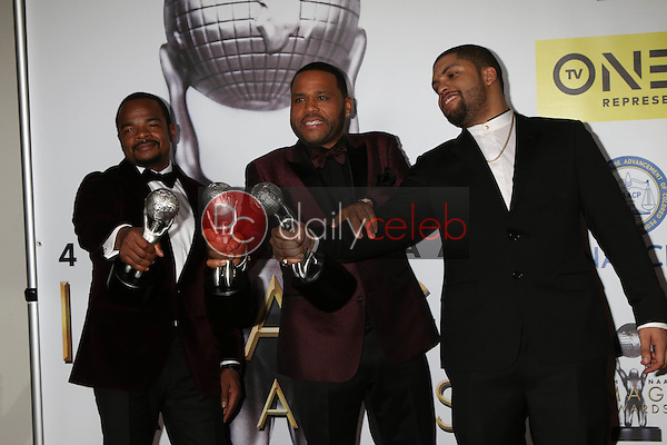 F Gary Gray, Anthony Anderson, O'Shea Jackson Jr.<br /> at the 47TH NAACP Image Awards Press Room, Pasadena Civic Auditorium, Pasadena, CA 02-05-16<br /> David Edwards/DailyCeleb.com 818-249-4998