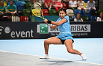 Zarins Diyas (Kazakhstan). Rubber 1. Great Britain v Kazakhstan. World group II play off in the BNP Paribas Fed Cup. Copper Box arena. Queen Elizabeth Olympic Park. Stratford. London. UK. 20/04/2019. ~ MANDATORY Credit Garry Bowden/Sportinpictures - NO UNAUTHORISED USE - 07837 394578