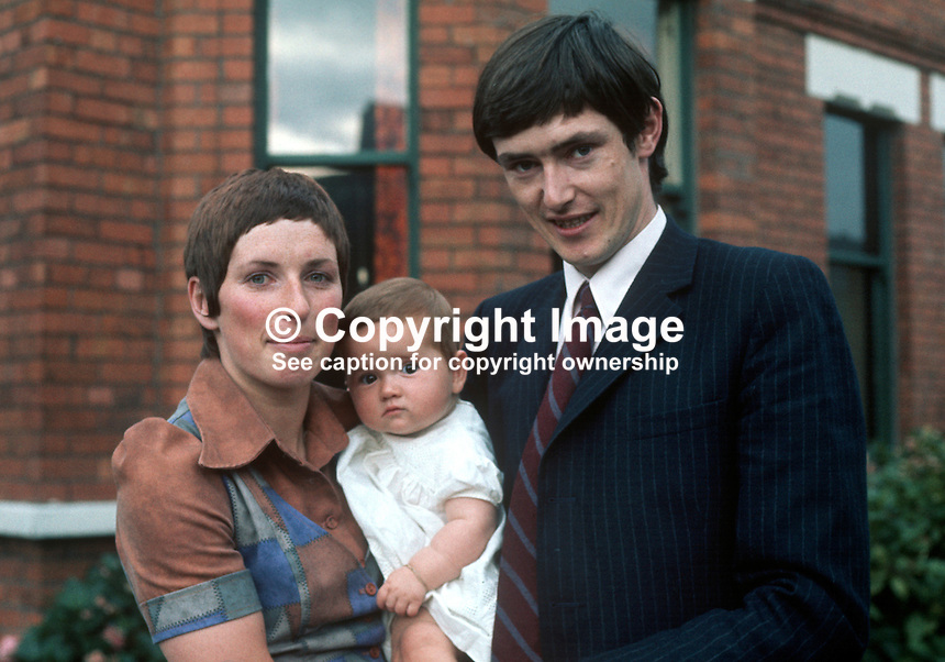 Diane Harron, BBC Belfast interviewer, with husband and their baby. 197110000393DH..Copyright Image from Victor Patterson, 54 Dorchester Park, Belfast, United Kingdom, UK...For my Terms and Conditions of Use go to http://www.victorpatterson.com/Victor_Patterson/Terms_%26_Conditions.html