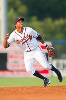 Shortstop Edward Salcedo #15 of the Rome Braves tracks a fly ball against the Greenville Drive at State Mutual Stadium July 24, 2010, in Rome, Georgia.  Photo by Brian Westerholt / Four Seam Images