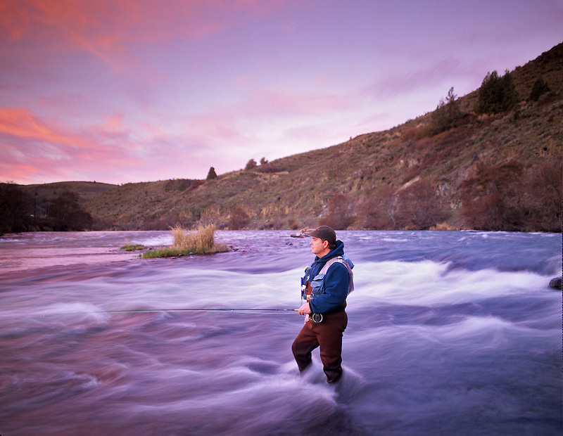 Fly fisherman on Decshutes River, Oregon