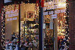 STOREFRONT OF COLLECTABLES SHOP DECORATED FOR CHRISTMAS