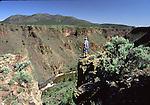 man hiking near Rio Grande river