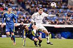 Real Madrid's Mateo Kovacic and Celta de Vigo's Pablo Hernandez and Hugo Mallo during Copa del Rey match between Real Madrid and Celta de Vigo at Santiago Bernabeu Stadium in Madrid, Spain. January 18, 2017. (ALTERPHOTOS/BorjaB.Hojas)