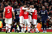 7th March 2020; Emirates Stadium, London, England; English Premier League Football, Arsenal versus West Ham United; Alexandre Lacazette of Arsenal celebrates with team mates as his goal was ruled on side by VAR for 1-0 in the 78th minute