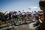 The peloton climb during Stage 15 of the 2018 Tour de France running 181.5km from Millau to Carcassonne, France. 22nd July 2018. <br /> Picture: ASO/Pauline Ballet | Cyclefile<br /> All photos usage must carry mandatory copyright credit (&copy; Cyclefile | ASO/Pauline Ballet)