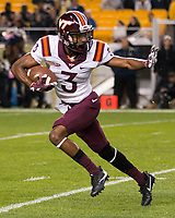 Virginia Tech cornerback Greg Stroman returns a kick. The Virginia Tech Hokies defeated the Pitt Panthers 39-36 on October 27, 2016 at Heinz Field in Pittsburgh, Pennsylvania.