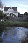 Duck pond and the MacCallum House, Mendocino California