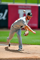 El Paso Chihuahuas starting pitcher Michael Kelly (25) warms up in the bullpen before the game against the Salt Lake Bees in Pacific Coast League action at Smith's Ballpark on July 10, 2016 in Salt Lake City, Utah. El Paso defeated Salt Lake 11-2. (Stephen Smith/Four Seam Images)