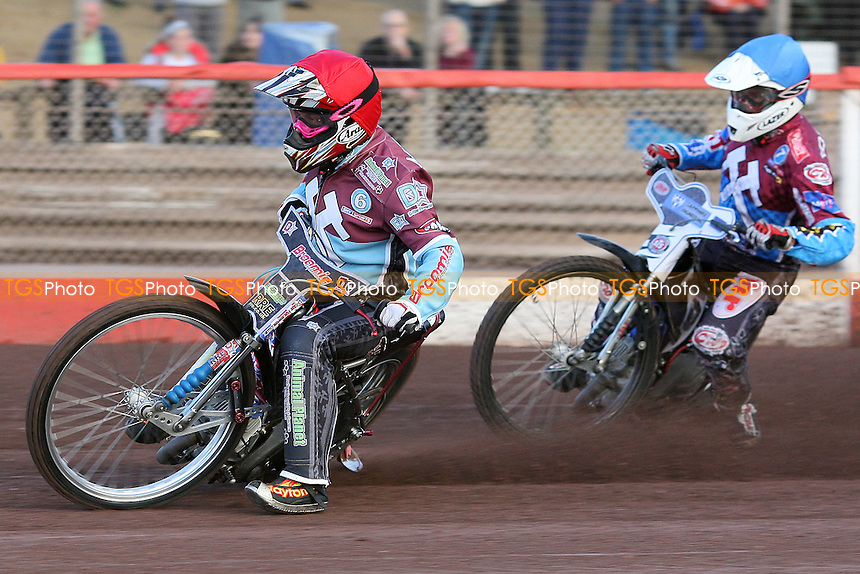 Heat 2: Rob Mear (red) and Stuart Robson - Lakeside Hammers vs Birmingham Brummies - Elite League Knockout Cup at Arena Essex Raceway - 10/06/11 - MANDATORY CREDIT: Gavin Ellis/TGSPHOTO - Self billing applies where appropriate - Tel: 0845 094 6026