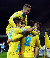 Esultanza  Gonzalo Higuain  durante l'incontro di calcio di Serie A  Napoli Milan allo  Stadio San Paolo  di Napoli , 08 Febbraio 2014<br /> Foto Ciro De Luca