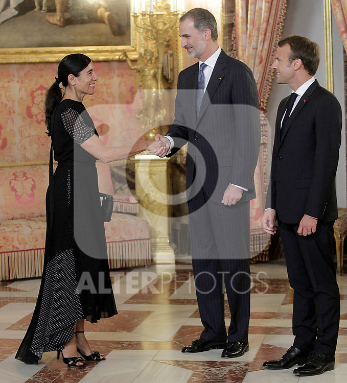 King Felipe VI of Spain (c), receives in the Royal Palace the President of the French Republic Emmanuel Macron (r) in presence of Spanish choreographer and dancer Blanca Li. July 26,2018. (ALTERPHOTOS/Acero)