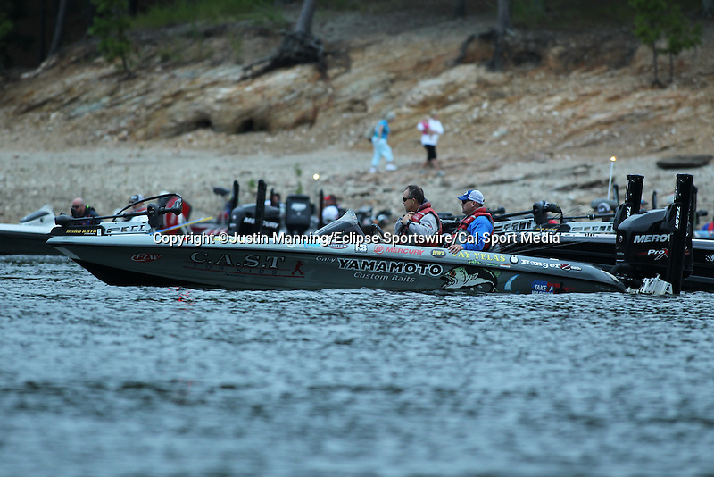August 21, 2015: Anglers get ready to hit the waters before day two of the Forrest Wood Cup on Lake Ouachita in Hot Springs, AR. Justin Manning/ESW/CSM