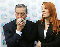 Il deputato Maurizio Gasparri bacia la mano al presidente dei Circoli della Liberta' Michela Vittoria Brambilla, a destra, al loro arrivo alla presentazione dei candidati alle prossime elezioni politiche per il Popolo della Liberta' a Roma, 13 marzo 2008..Italian lawmaker Maurizio Gasparri kisses hand to president of Circles of Freedom Michela Vittoria Brambilla, right, as they arrive at a meeting in Rome, 13 march 2008, for the presentation of the candidates for the People of Freedom center-right coalition at the incoming political election..UPDATE IMAGES PRESS/Riccardo De Luca