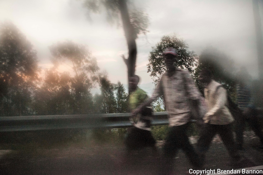 Dawn on the road between Kigali and Musenze, Rwanda. Photo by Brendan Bannon. March 5, 2014