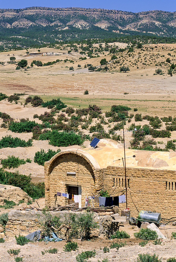 Tunisia, Le Kef.  Hammam Mellegue, Roman Era Baths.  Caretaker's House.  Note solar panel on roof.